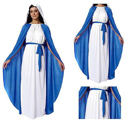 Jungfrau Maria Halloween (Frau Nonne Kostüm Jungfrau Maria religiöse Schwester blau & weiß Halloween Kleid)