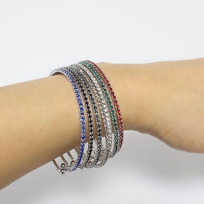 (Swarovski Elements Rhinestone Stretchable 1 Row Bangle Fashion Bracelet)
