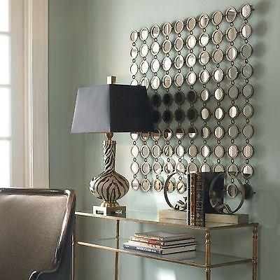 "XL 40"" Anthropologie Replica Wall Mirror Circles Metal Art Modern Moroccan Decor"