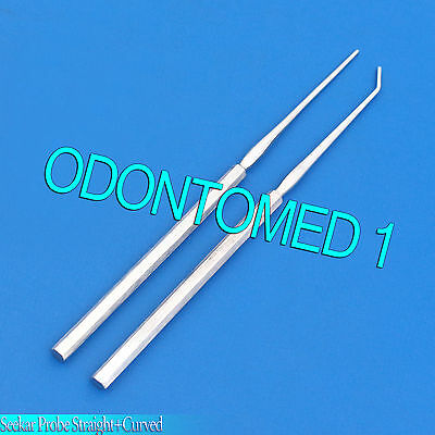 Set Of 2 Pcs Seeker Dissecting Probe Mall Probe Straight And Curved