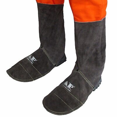 AP-9400B 20cm Brown FR Leather Welding Leggings and Gaiter /Shoe Cover Protector