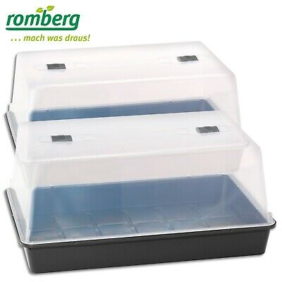 Romberg 2 x Greenhouse XXL to Plant Cultivation 59x39x27cm Black Bowl