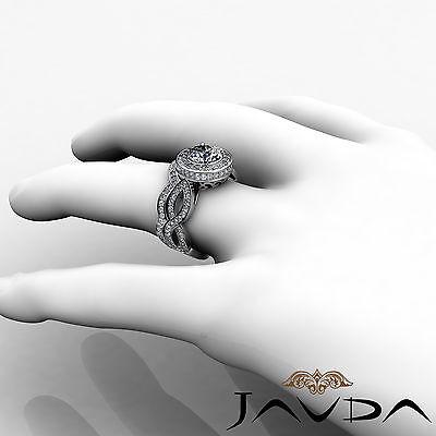 Cross Shank Circa Halo Round Diamond Engagement Pave Set Ring GIA I SI1 2.8 Ct 5