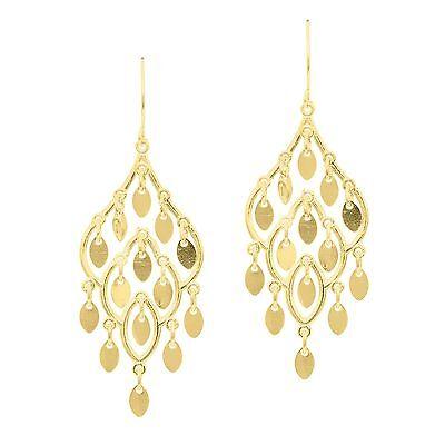 Fancy Chandelier Teardrop Dangle Earrings Shepherds Hook Real 14K Yellow Gold