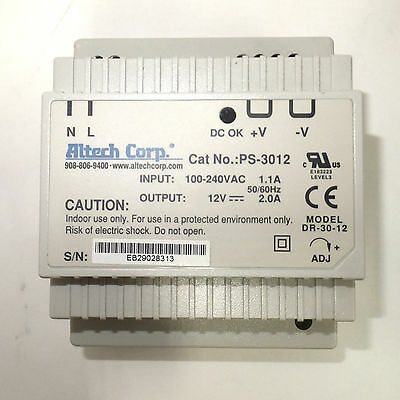 Altech Corp Ps-3012 Dr-30-12 Industrial Din Rail Power Supply 12vdc 2a