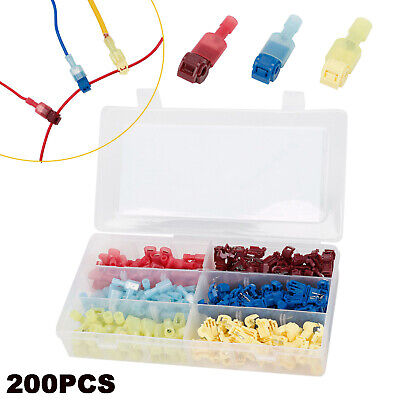 200Pcs T-Tap 22-10 AWG Quick Splice Wire Insulated Terminal Connectors Combo Quick Splice Wire
