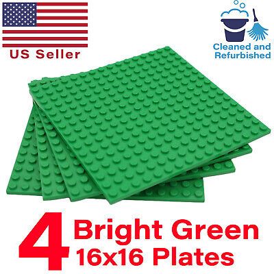 "Lot of 4 GENUINE LEGO Green Color 16x16 Stud Base Plates Pack 5""x5"" 16x16 Studs"