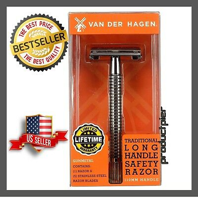 Handle Double Edge Razor - Double Edge Long Handle Safety Razor  Includes: 5 Double Edge Coated & Stainless