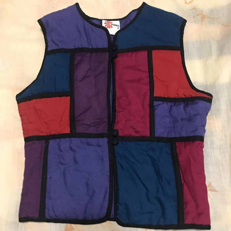 Vintage Phool Rayon India Vest Size Small Color Block Multi Color