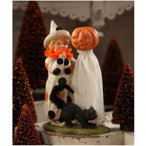 Bethany Lowe Polka Dots Clown Child Black Cat Retro Halloween Figurine Decor