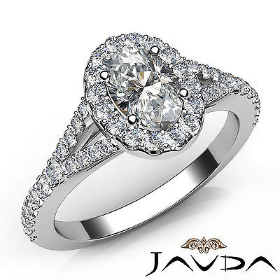 Halo Split Shank Oval Diamond Engagement French Pave Set Ring GIA I VS2 1.21Ct