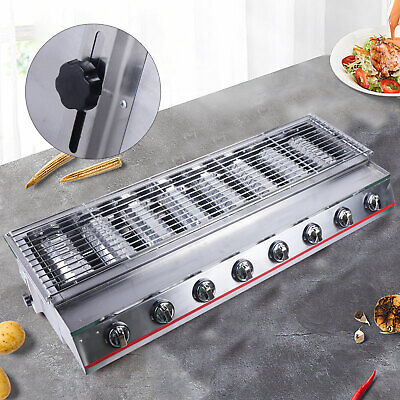 8 Head Burner Portable Stainless Steel Bbq Table Top Lpg Gas Grill Outdoor Camp