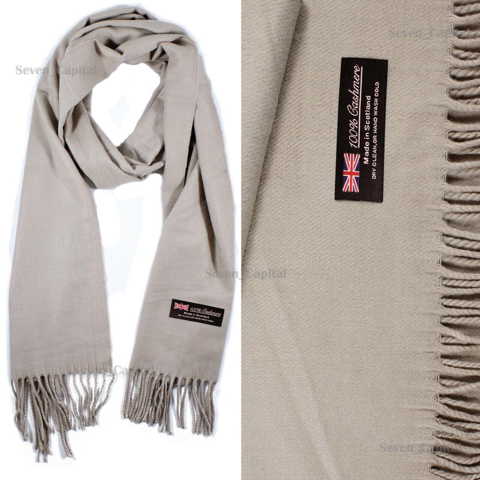 Mens Womens Winter Warm SCOTLAND Made 100% CASHMERE Scarf Scarves Plaid Wool 45. Plain: Khaki