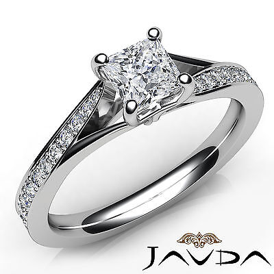 Classic Side Stone Pave Princess Diamond Engagement Ring GIA D Color SI1 0.85Ct
