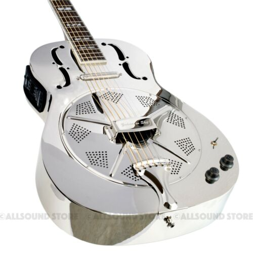 Dan Armstrong Nickel Plated Steel Resonator Guitar w Lipstick & Piezo Round Neck
