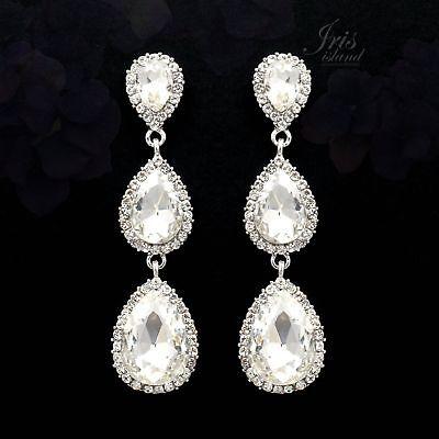 Rhodium Plated Clear Crystal Rhinestone Wedding Bridal Drop Dangle Earrings 7126
