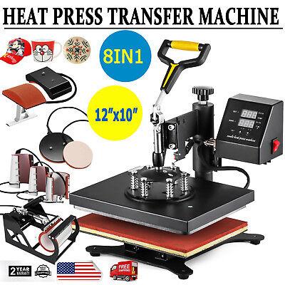 8 In 1 Digital Heat Press Machine Sublimation For T-shirt Mug Plate Hat 12x10