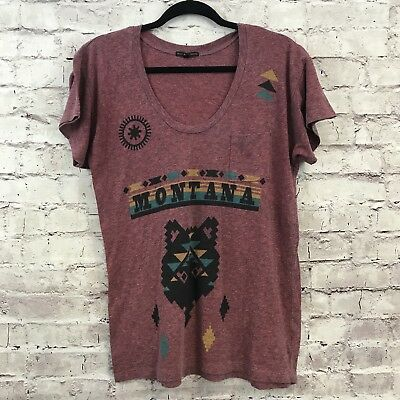 Uo Truly Madly Deeply Montana Womens T Shirt Wolf Graphic Pocket Burgundy Sz S