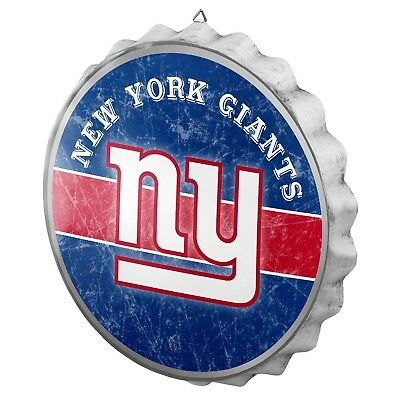 New York Giants Bottle Cap Wall Sign - Distressed - Room Bar Decor Metal 13.5