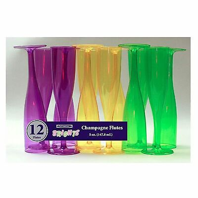 1 Party Essentials 5 Oz. 1 pc. Champagne Glasses-Mardi Gras Box Set 12 Ct. - Purple Plastic Champagne Glasses