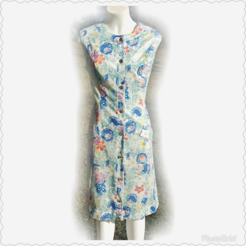 VTG Plus Poly Floral 1960s 1970s Mod Dress Baby Doll Midi Button Up House Pocket