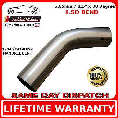 """63mm 2.5"""" x 30 Degree Mandrel Exhaust Bend T304 Stainless Steel 1.5D 1.5mm Wall"""
