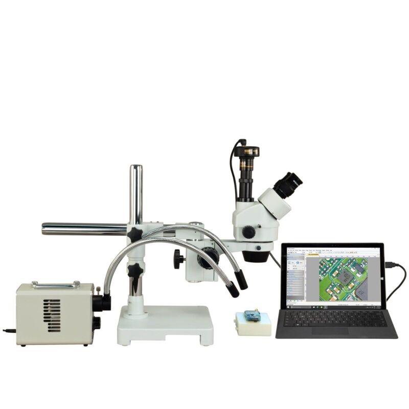 Omax 2.1x-270x 9mp Digital Zoom Boom Stereo Microscope+30w Led Fiberoptic Light
