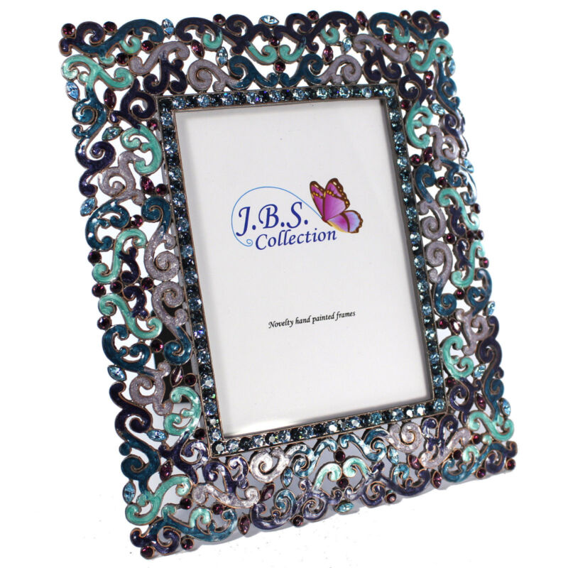 Bejeweled Filigree Pattern Photo Frame, Enamel Painted With Crystals In Blue