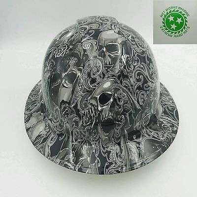Hard Hat Full Brim Custom Hydro Dipped Osha Approved Skulls N Roses New