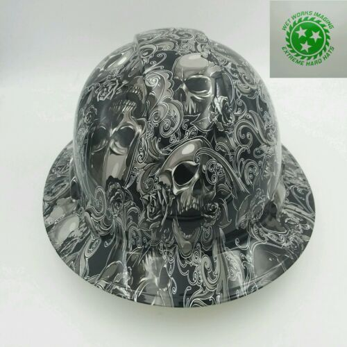 Hard Hat FULL BRIM custom hydro dipped , OSHA approved SKULLS N ROSES NEW