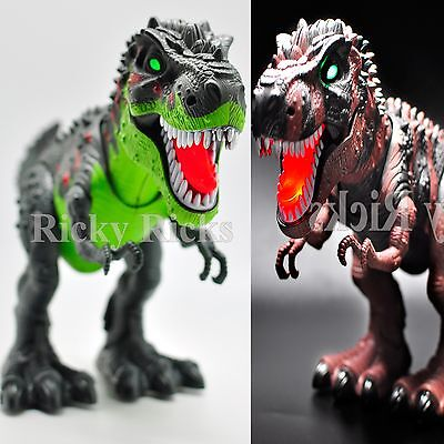 Light Up T-Rex Walking Dinosaur Kids LED Toy Figure With Sounds Real Movement - Rex Kids