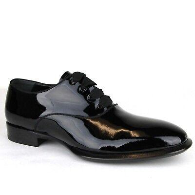 $725 Alexander McQueen Men's Black Patent Leather Dress Shoes 432360 1000