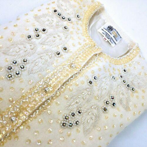Vintage Cecile Ivory Wool Angora Beaded Sequined Embellished Sweater Cardigan 44