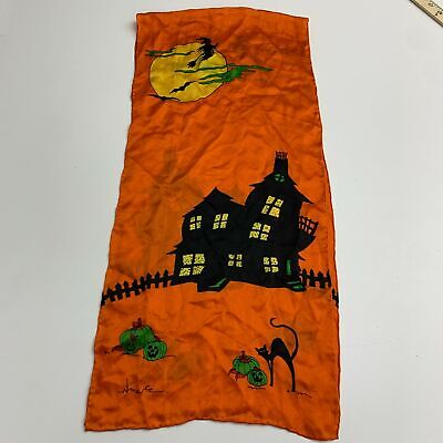 Vintage Scarf Styles -1920s to 1960s Vintage Halloween Scarf Women's Orange 58''Long Silk Casual $17.99 AT vintagedancer.com