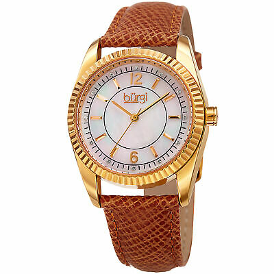 Women's Burgi BUR167TN Coin Edged Swarovski Crystal Mother of Pearl Strap Watch