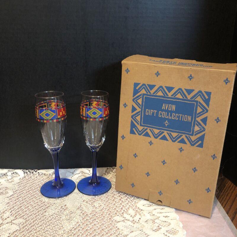 VTG.AVON KENTE INSPIRED MAJESTIC COBALT BLUE CHAMPAGNE GLASS SET OF 2 *RARE*1993