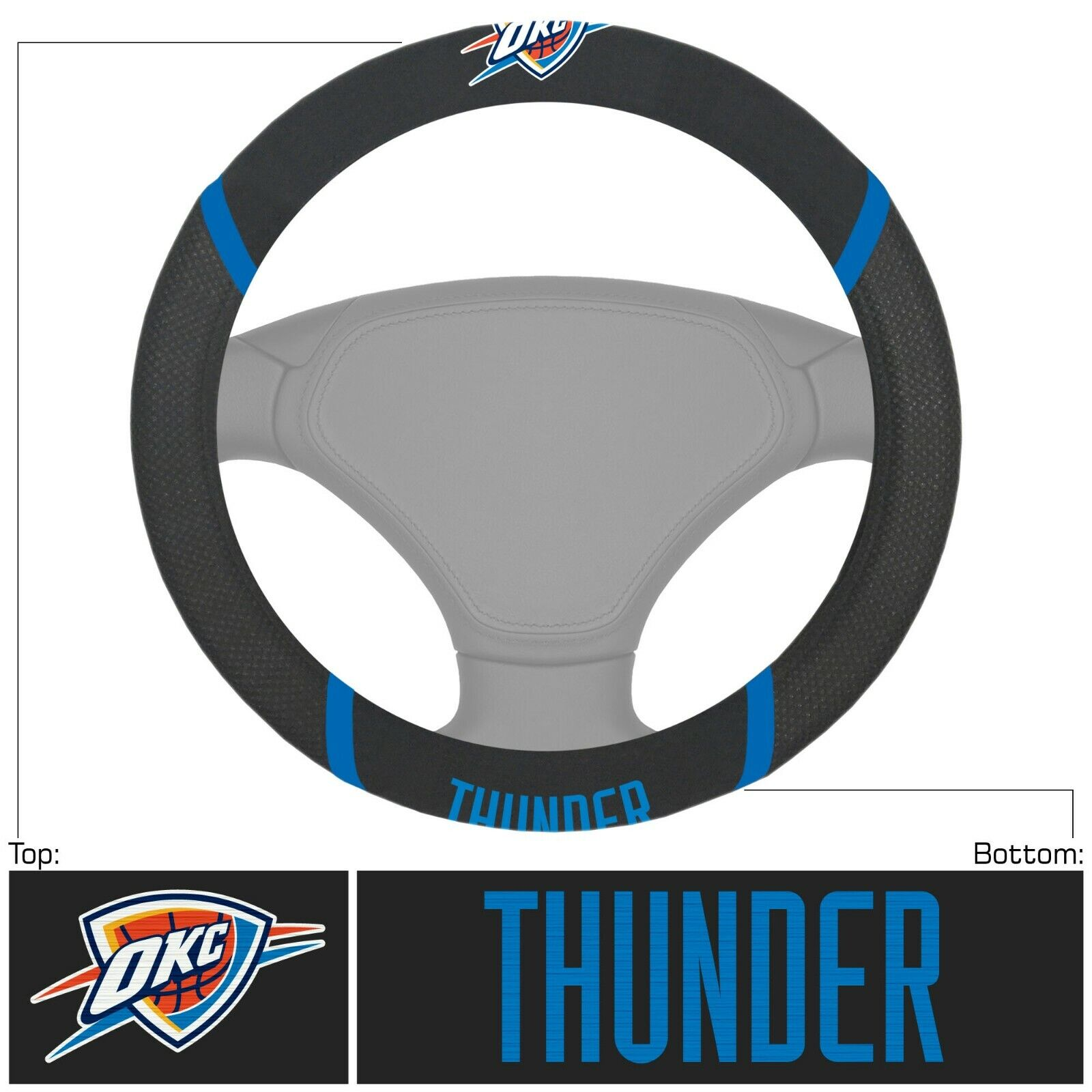 Fanmats NBA Oklahoma City Thunder Embroidered Steering Wheel