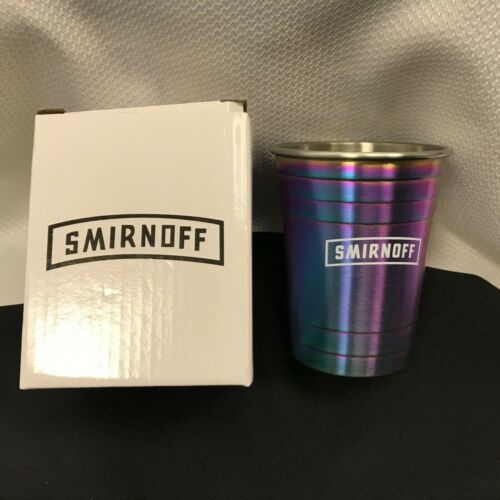 NEW Smirnoff Solo Cup Rainbow Metal 16 oz Gift Smirnoff Vodka