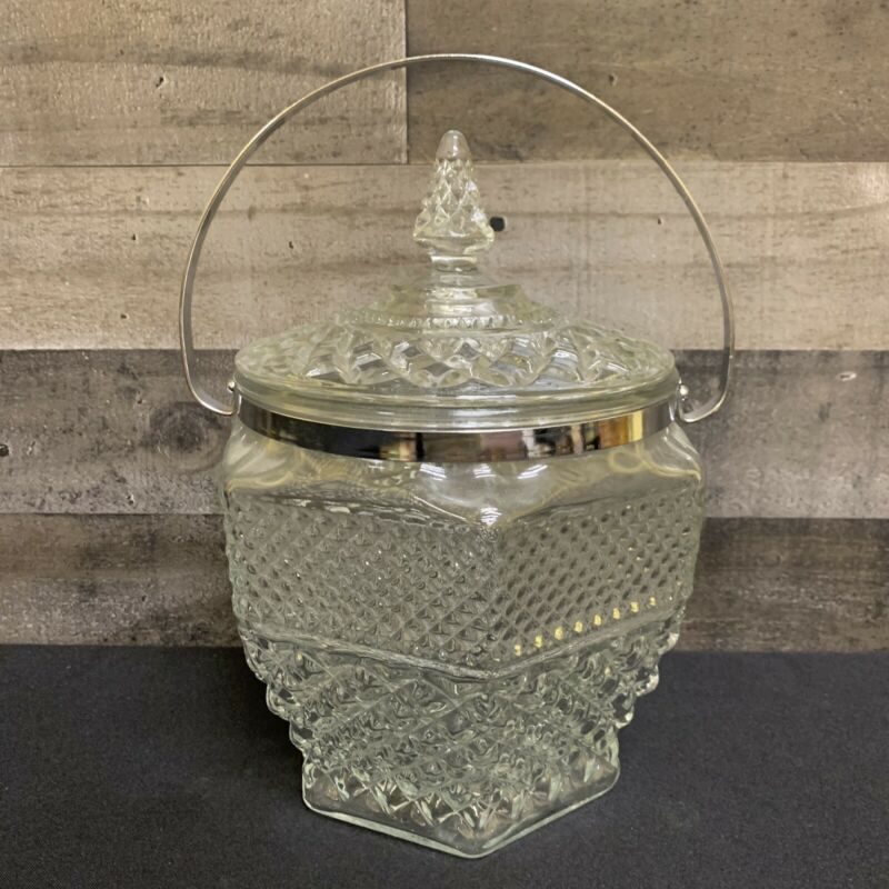 Vintage Anchor Hocking WEXFORD Crystal Ice Bucket Lid Metal Handle
