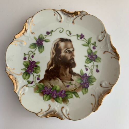 """Vintage Hanging Plate Scalloped with Violets and Jesus Wheelock Peoria Japan 8"""""""