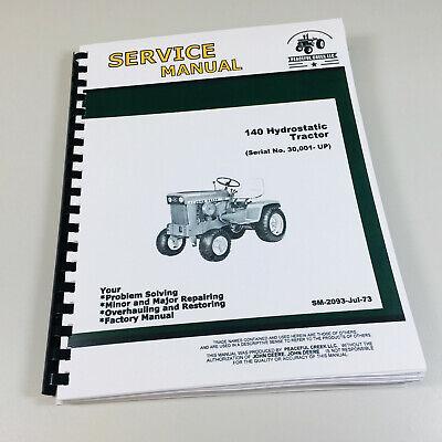 Service Manual For John Deere 140 Lawn Mower Garden Tractor Repair Technical