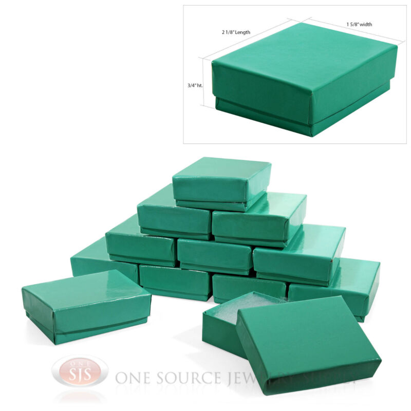 """12 Teal Blue Cotton Filled Jewelry Gift Boxes  2 1/8"""" X 1 5/8"""""""