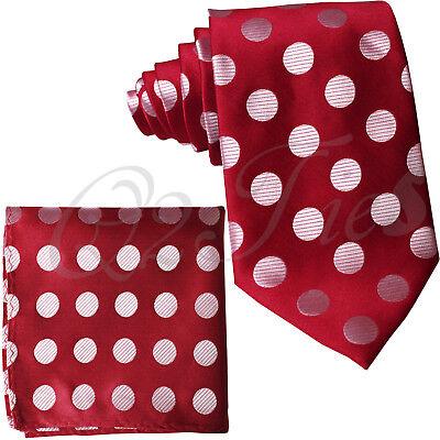 Red Polka Dots (Red / WHITE BIG Polka Dots Neck tie & Pocket Square Hanky Christmas Prom)