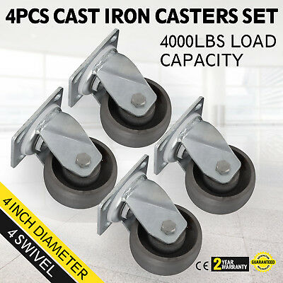 4 Swivel Casters -4 Heavy Duty Cast Iron Hub Core Poly Wheel Non Skid Mark