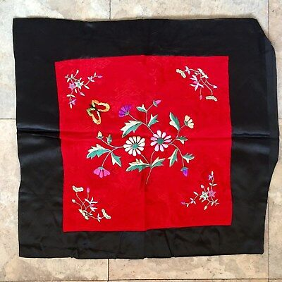 Antique Vintage Chinese Red Silk Embroidered Cushion Pillow Cover Case Flowers