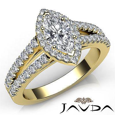 Halo Split Shank U Cut Prong Marquise Diamond Engagement Ring GIA F VS1 1.97 Ct
