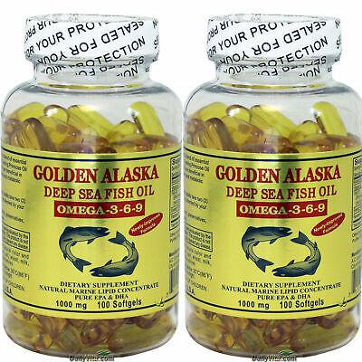 2x Golden Alaska Deep Sea Fish Oil Omega-3-6-9 1000mg 100 SG DHA EPA Made In USA