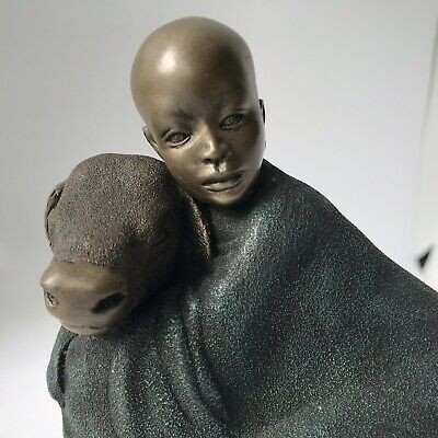 Soul Journeys Yahya God's Gift Maasai Boy Girl Calf Bronze Resin Ornament 2001 for sale  Shipping to Ireland