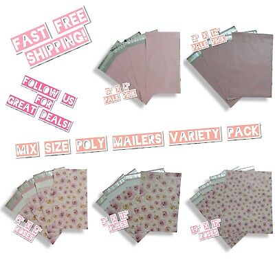 100 Pink Theme Poly Mailers Mix Size Variety Pack 20 Ea 6x9 9x12 14x17
