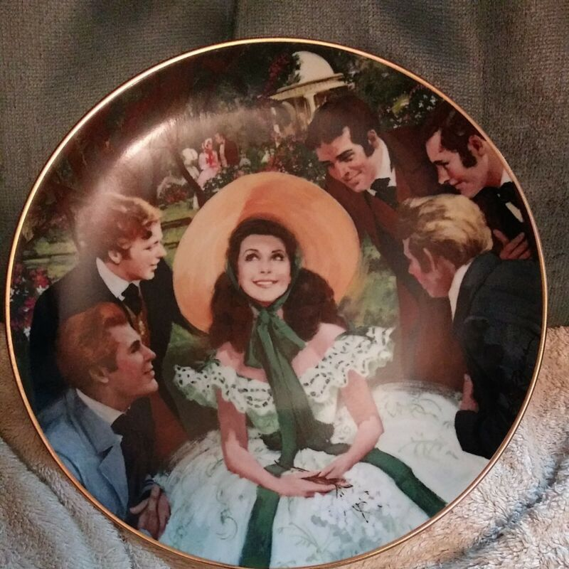 SCARLETT AND HER SUITORS plate Golden Anniversary Series GONE WITH THE WIND